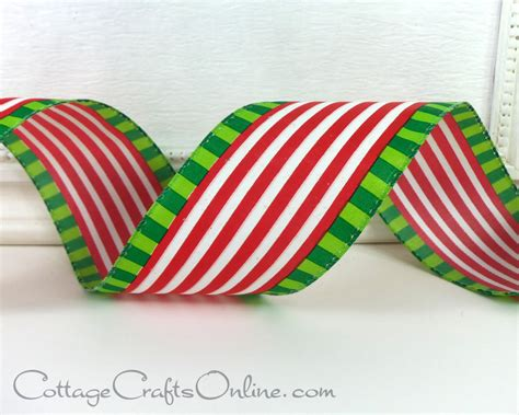 christmas wired ribbon 2 1 2 quot red white stripe lime