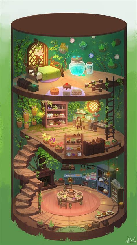 artstation fairy house interior ha ko cartoon house house drawing fantasy house