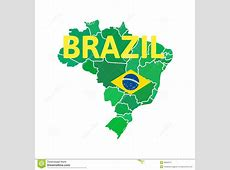 Flat simple Brazil map stock vector Illustration of