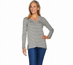 Susan Graver Weekend Striped Cotton Modal V Neck Top