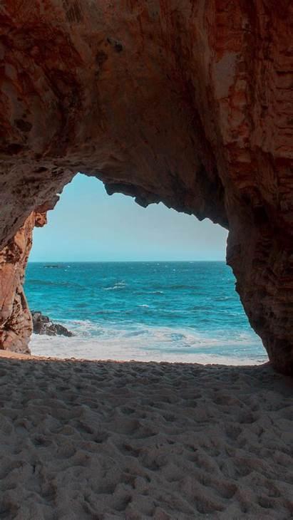 Cave Rock Beach Sea Sand Water Iphone