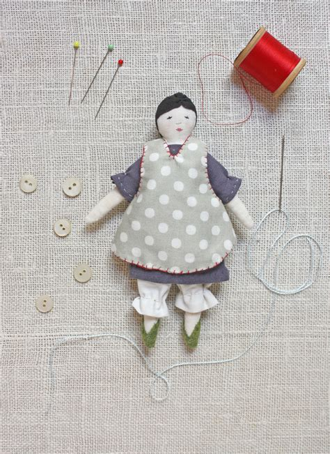 tiny rag doll print pattern ann wood handmade