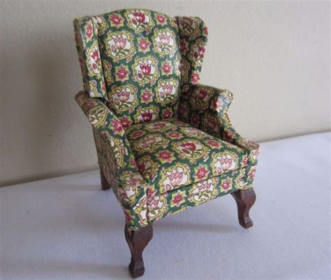 dollhouse miniature furniture upholstered tulip fabric