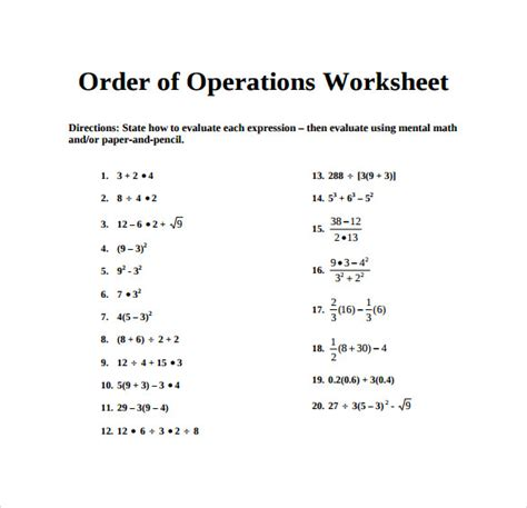 sle order of operations worksheet 11 documents in pdf