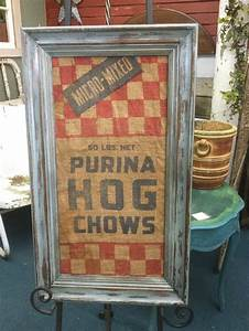 vintage purina hog feed burlap sack framed sign farm house With what kind of paint to use on kitchen cabinets for primitive framed wall art