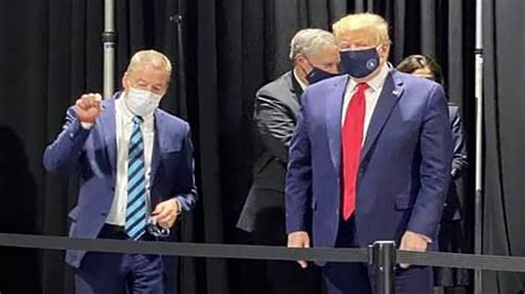 trump mask wearing tour spotted donald wear refuses press lead dies wants grey face during ford necn coronavirus san hours