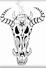 Satanic Moose Demon Coloring Animal sketch template