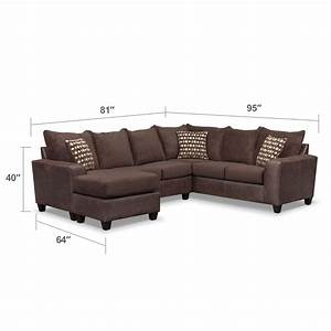 brando 3 piece sectional with modular chaise chocolate With 3 piece modular sectional sofa