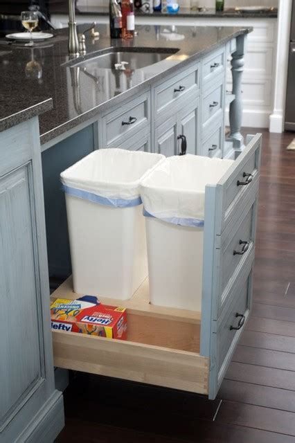 Bin Pull Cabinet Hardware by Formal White Kitchen With Blue Island Mullet Cabinet