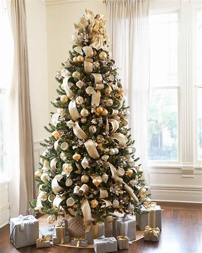 Tree Christmas Gold Silver Decorating