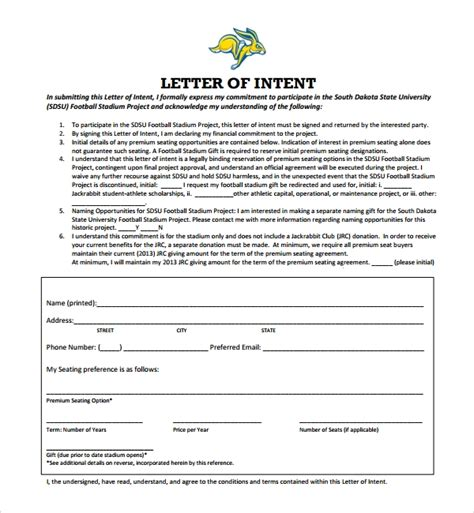 sample national letter  intent   documents