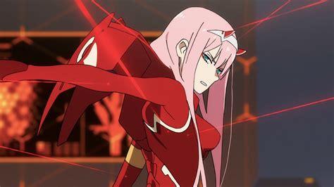 darling   franxx   hiro    red dress  pink hair   red laser