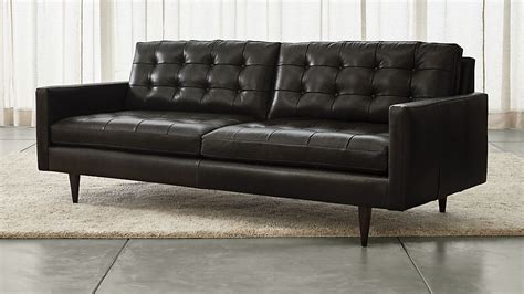 petrie black leather sofa reviews crate  barrel