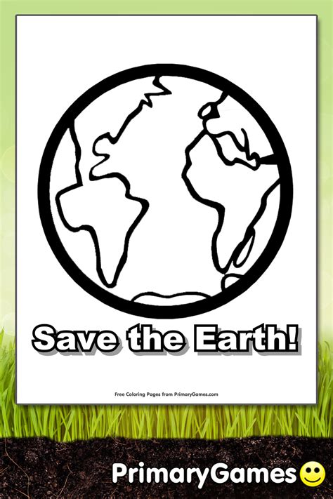 save  earth coloring page printable earth day coloring  primarygames