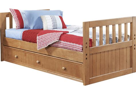 size bunkie board creekside taffy 3 pc bed w trundle beds light wood