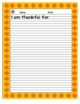 thankful writing template  practical practice