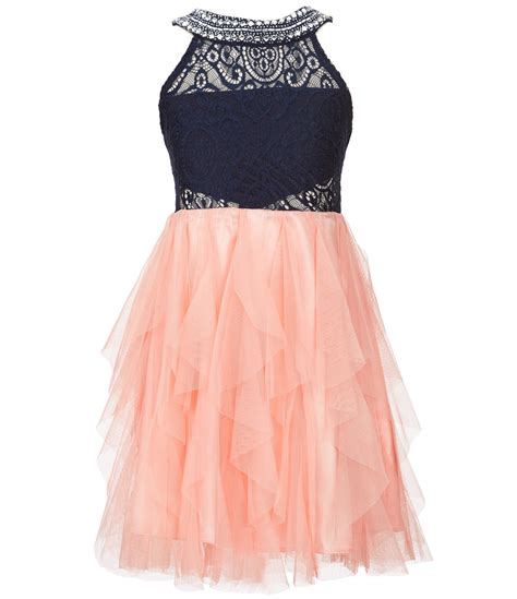 pink fit and flare dress tween big 7 16 beaded neck fit and flare dress