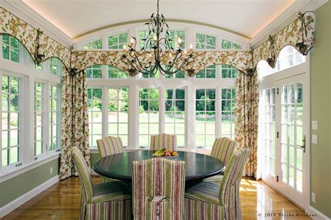 chic valances window treatments in dining room traditional