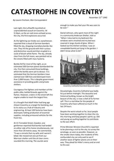 ww  blitz  coventry newspaper article ks  missfincham teaching resources tes