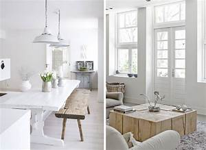 interieur blanc et bois brut idee decoration design salle With salle À manger contemporaine avec salon scandinave blanc
