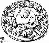 Waffle Coloring Truskawki Druku Gofr Truskawkami Kolorowanki Kolorowanka Truskawka sketch template
