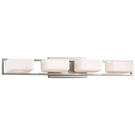 Bathroom Light Fixtures Brushed Nickel Home Depot by Progress Lighting Dibs Collection 4 Light Brushed Nickel