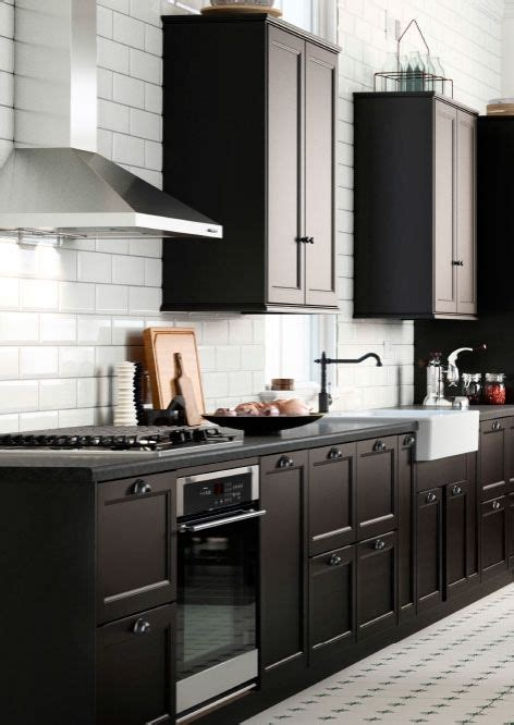 ikea black brown kitchen cabinets create a country style sektion kitchen with black brown 7433
