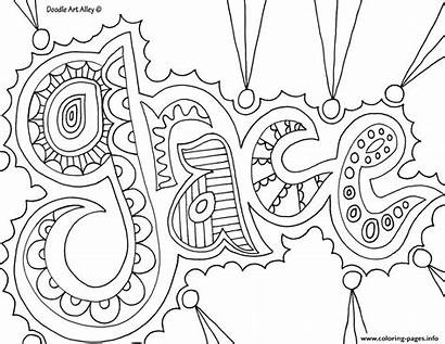 Coloring Word Pages Grace Printable Prints