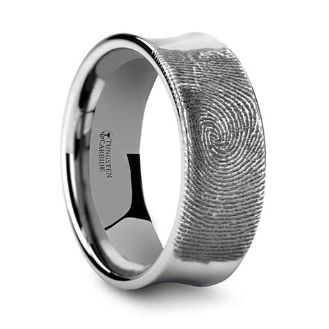 fingerprint engraved men s wedding ring in tungsten 8mm