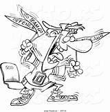Cartoon Fan Coloring Crazy Outline Leishman Vecto Rs Toonaday sketch template
