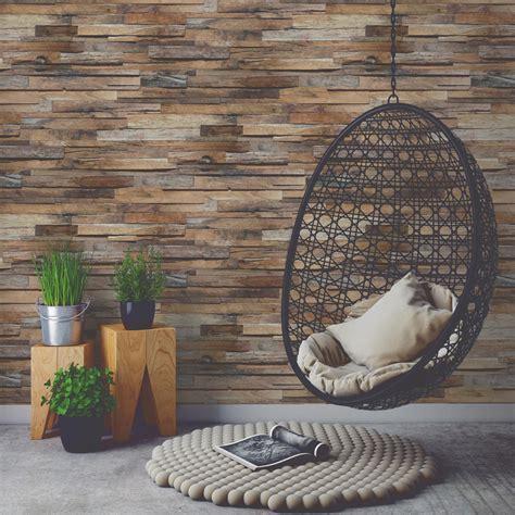 carrelage chambre imitation parquet papier peint intissé planche de bois marron leroy merlin