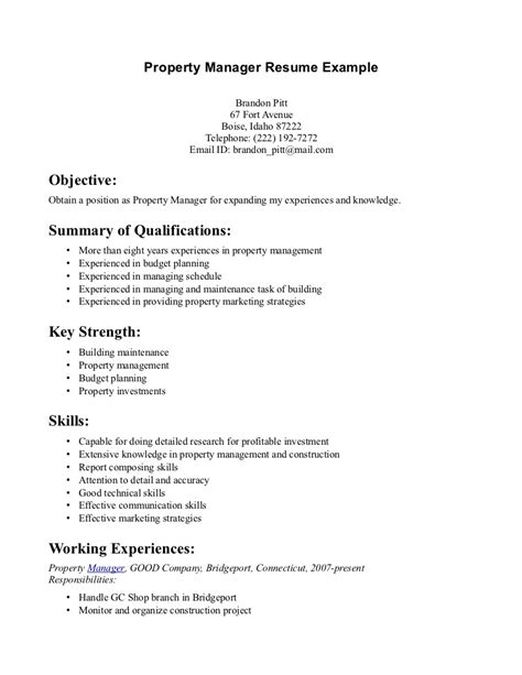 assistant property manager resume summary assistant