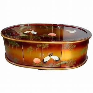 Table Basse Chinoise : table basse chinoise laque mordor e motifs oiseaux grues ~ Melissatoandfro.com Idées de Décoration