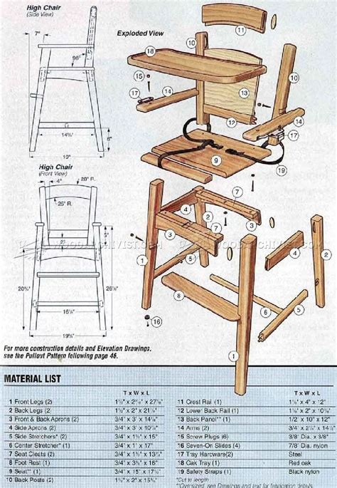 wooden high chair plans childrens furniture plans