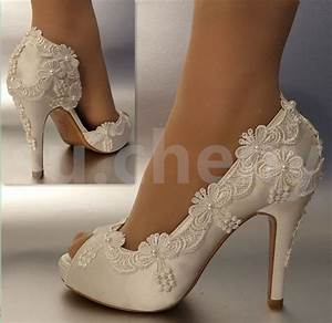 3quot 4quot Heel Satin White Ivory Lace Pearls Open Toe Wedding