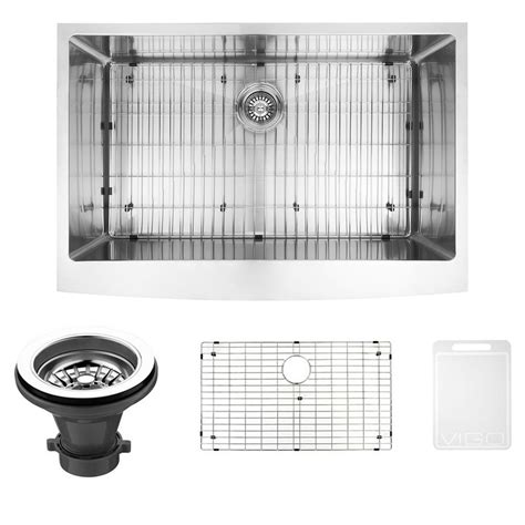 vigo undermount farmhouse stainless steel 33 in single bowl kitchen sink with grid and strainer