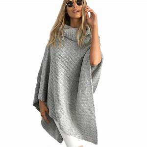 2016 Autumn Loose knitted turtleneck pullovers poncho ...