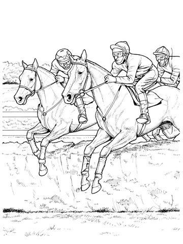 ausmalbild pferde ueberspringen ein hindernis