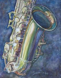 Portrait Of A Sax Painting by Jenny Armitage