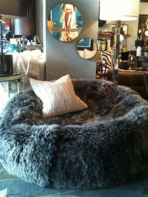 sheep skin bean bag chair  girls rooms pinterest