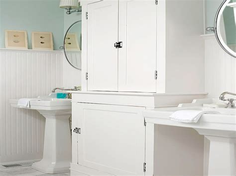 Bathrooms With Beadboard, White Beadboard Bathroom Wall