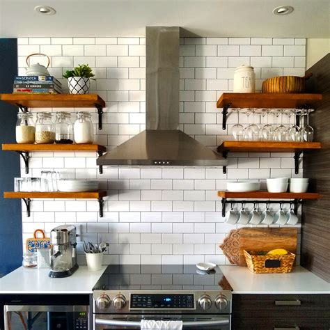 open kitchen shelving   build  mount kitchen shelves