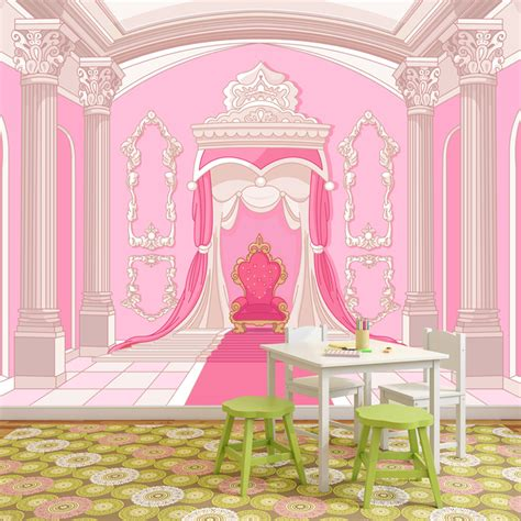 princess throne wall mural pink fairytale photo wallpaper