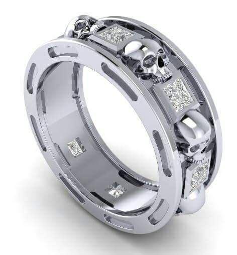 mens skull wedding ring skull wedding ring men or woman gemstone trio wedding ring
