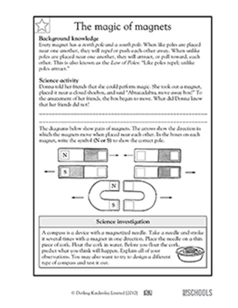 5th Grade Science Worksheets Magnet Magic (law Of Poles) Greatschools