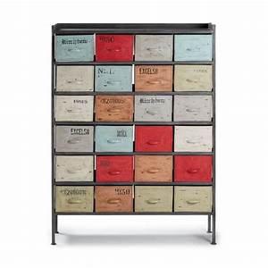 Meuble à Tiroir : meuble de rangement industriel 24 tiroirs keywe achat ~ Edinachiropracticcenter.com Idées de Décoration