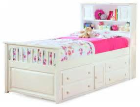 white captain s twin bed with four drawer storage chest