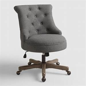 Charcoal elsie upholstered office chair world market for Office chair upholstery