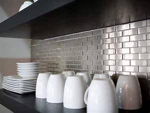 metal tile backsplashes pictures ideas tips from hgtv With kitchen colors with white cabinets with metal tile wall art