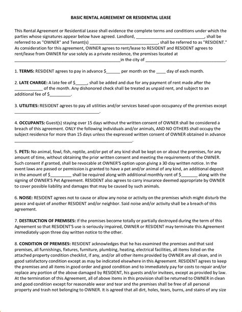 residential lease template 4 basic lease agreement template teknoswitch